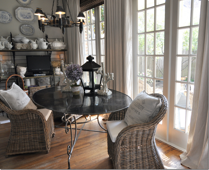 Love The Kooboo Chairs Around This Wrought Iron Breakfast Table With The  Feed Sack Pillows In