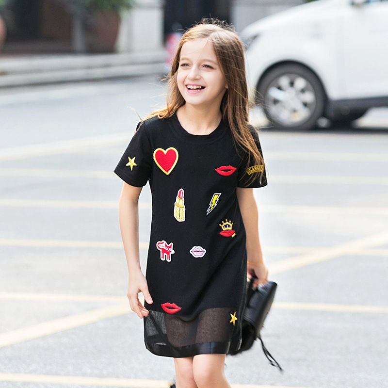 Super Sweet Appliques Black Short Sleeved Summer Dress Girl Teenage