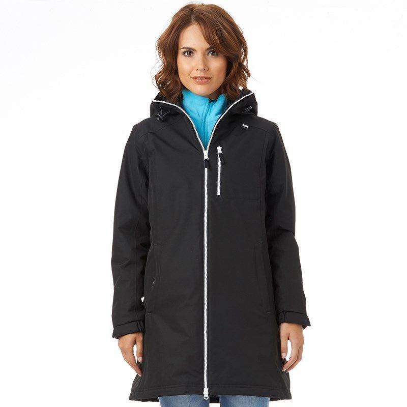 Helly Hansen Womens Belfast Long Insulated Hooded Jacket Black ...