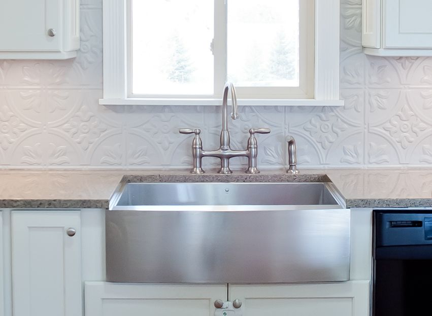 Stainless Steel Farm House Sink Bridge Faucet Gray Tin Backsplash Quartz Countertop Black A Tin Backsplash Kitchen Tin Tile Backsplash Metallic Backsplash