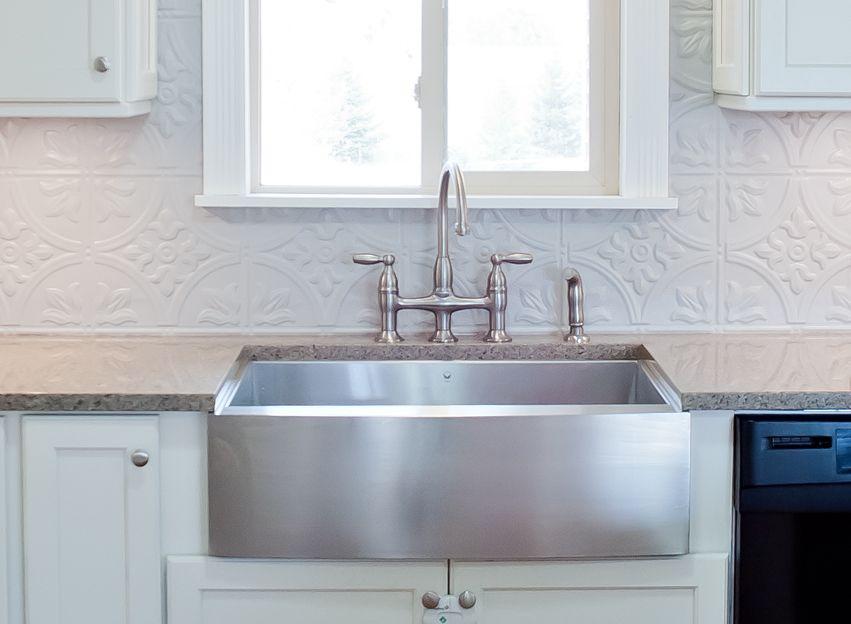 Stainless Steel Farm House Sink Bridge Faucet Gray Tin