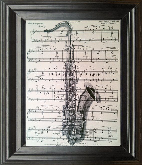 Saxaphone with Butterflies Old book page print Antique Book page Art Print