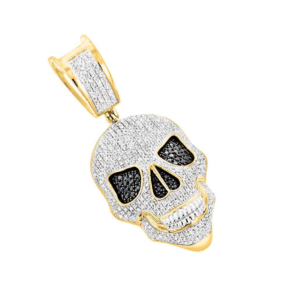 White And Black Diamond Iced Out Skull Pendant In 10k Gold 0 83ct With Images Skull Pendant Diamond Ice Diamond Skull