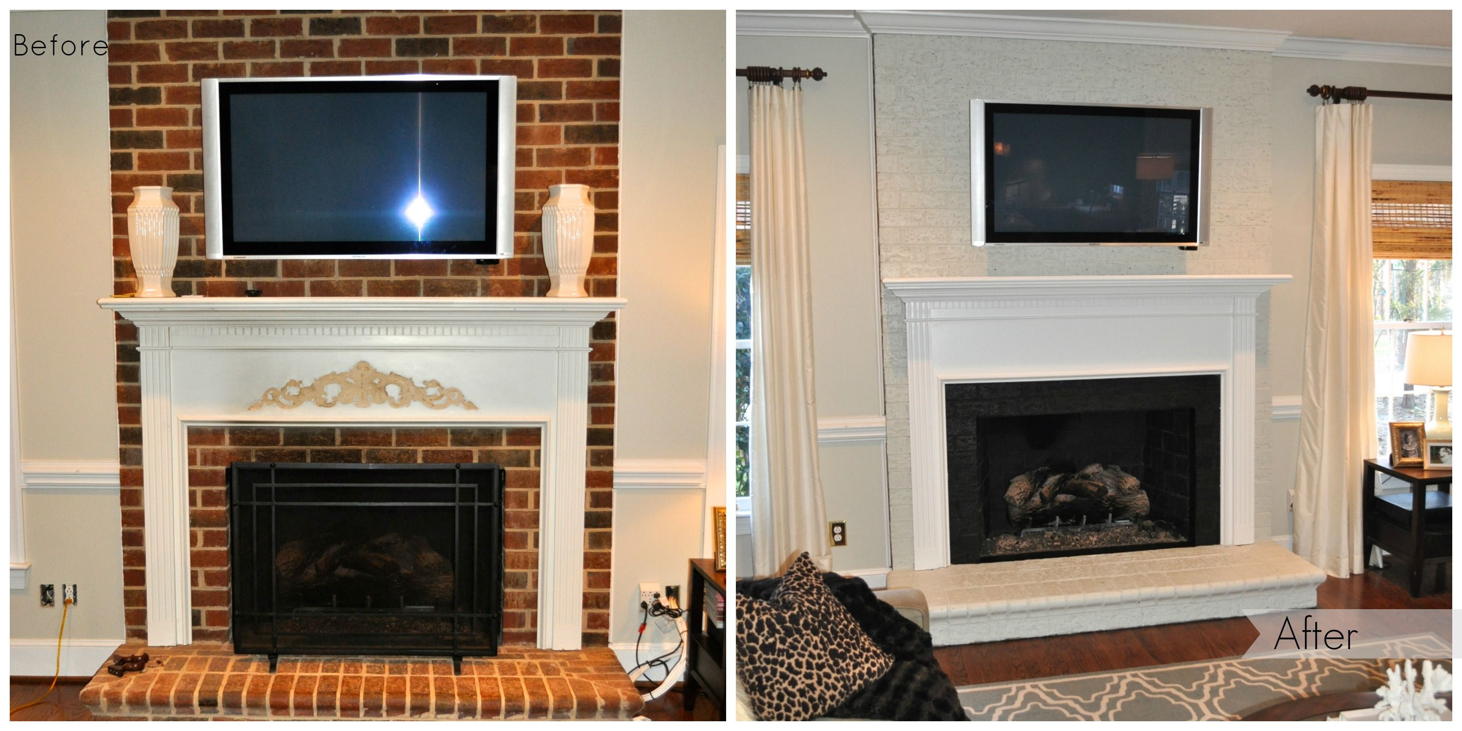 Painted brick fireplace Before & After! Paint the brick the same color as  the wall
