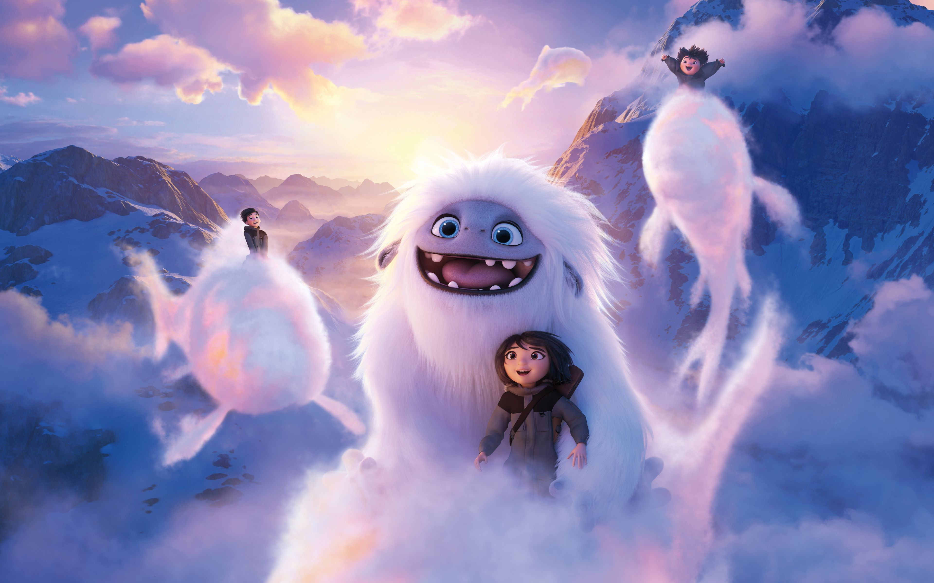 3840x2400 Abominable Kid And Yeti Flight Clouds 2019 Movie Wallpaper Movie Wallpapers French Films Kid Movies Disney