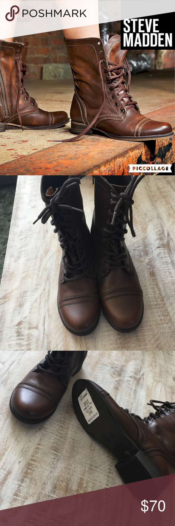 NWT Steve Madden Troopa Boot/Brown/7.5 Hot for Fall!  Steve Madden Troopa combat boot in Brown leather is the go-to boot for Fall and Winter!  Lace up style with interior zippers for easy on/off. 1 in heel height, 7.5 in shaft height, 11.5 in circumference.  NWT, no box. no trades/lowball offers. Steve Madden Shoes Combat & Moto Boots