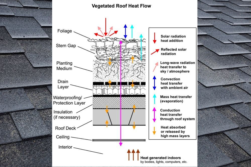 Green Roof Energy Series Part 1 The Essentials Heat Transfer By Layer Greenroofs Com In 2020 Green Roof Green Roof System Heat Transfer