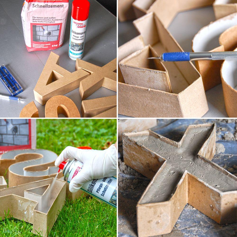 diy betonbuchstaben basteln pinterest beton deko diy beton und zement. Black Bedroom Furniture Sets. Home Design Ideas