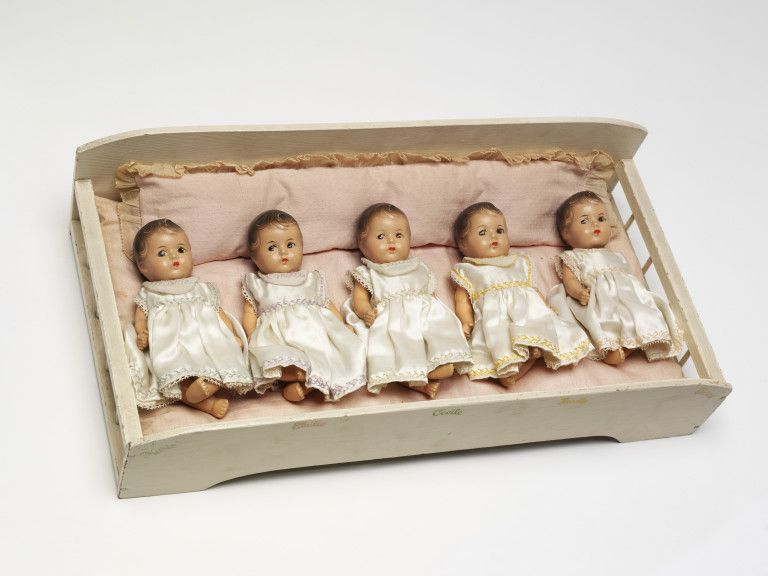 Dionne Quins  Object:  Set of baby dolls  Place of origin:  USA (made)  Date:  1936-1938; ©1936 (made)