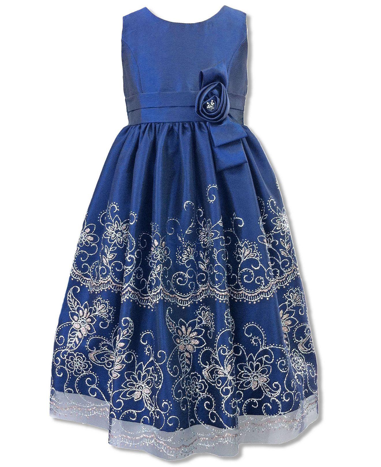 Jayne Copeland Kids Dress, Girls Sparkle Flower Border Dress ...