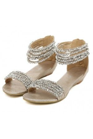 Silver Beaded Open Toe Low Wedge Sandals Rhinestone Sandals Wedding Sandals Wedding Shoes Low Heel