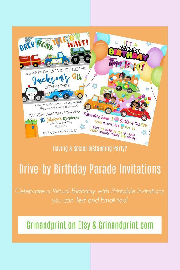 Birthday Parade Invitation Boy / Parade Birthday / Drive