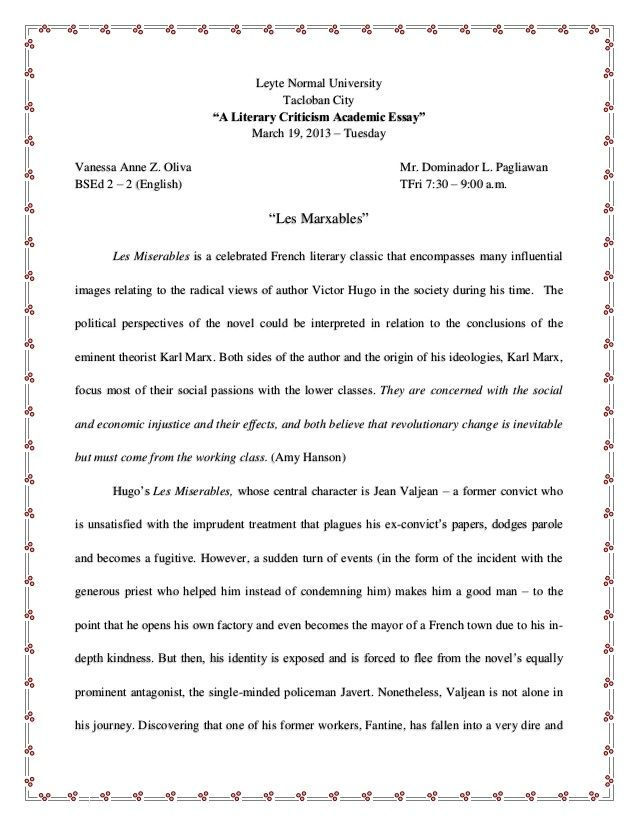 Image Result For Outline Essay On Les Miserables Literary Essay