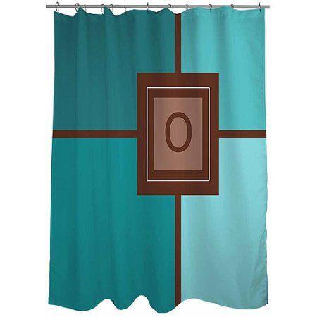 Thumbprintz Grid Monogram Shower Curtain, Teal, Blue