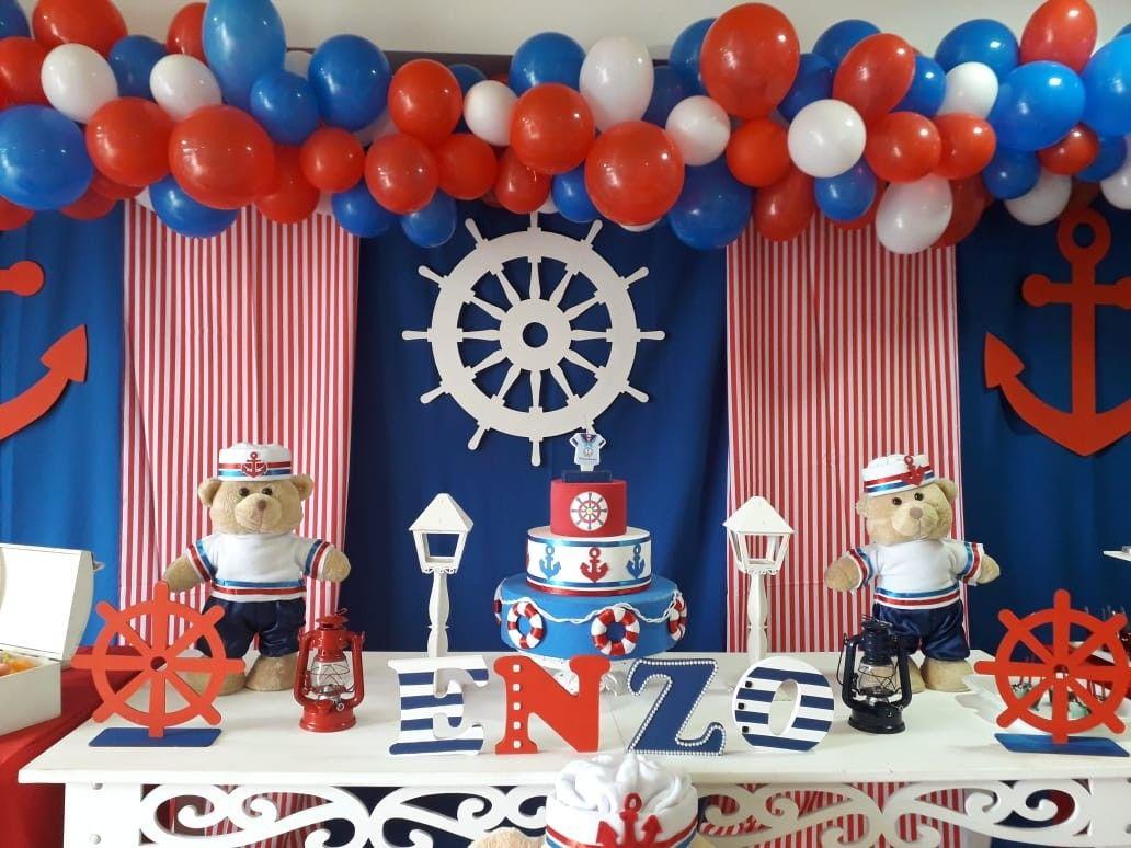 Decoración De Oso Marinero Niño Cumpleaños Marinero Fiestas Temáticas Marineras Fiesta Marinera