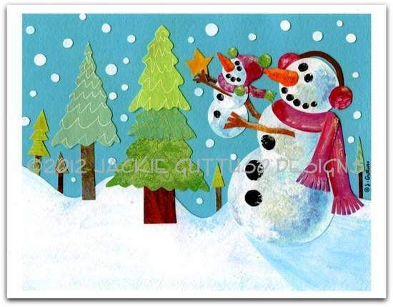 Christmas art Snowman art 8 x 10 Archival by JackieGuttusoDesigns