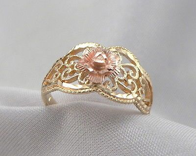 14K GOLD Filigree Ring Yellow Band Rose Gold Flower Beverly Hills