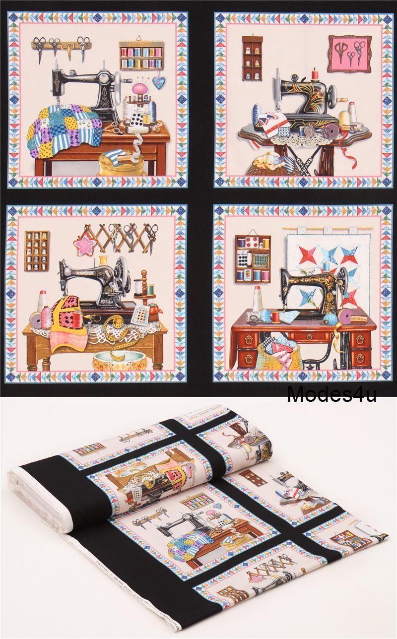 Elizabeths Studio Stitch in Time Sewing Patchwork Panel Black
