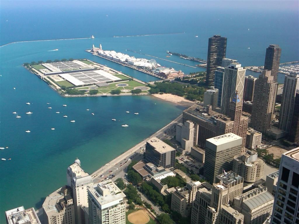 The view from the John Hancock Building of Navy Pier in