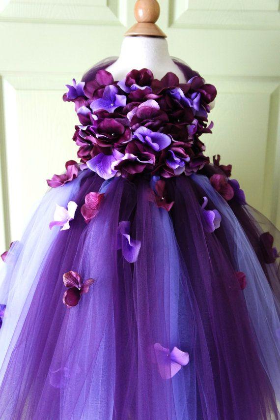 Flower Girl Dress, Tutu Dress, Photo Prop, in Purple and Lavender ...
