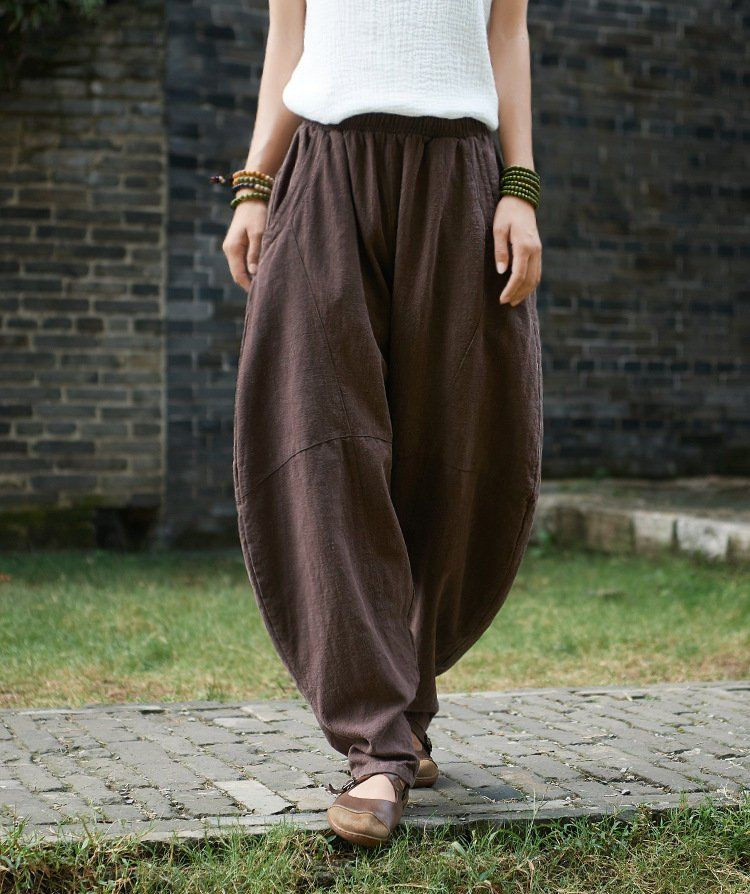 86e9e4d897 Women cotton linen art trousers – pure hemp ramie retro women lantern  leisure
