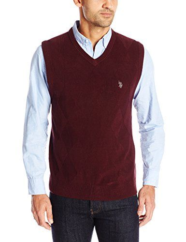 U.S. Polo Assn. Men's Tonal Argyle Sweater Vest, Burgundy, Large ...