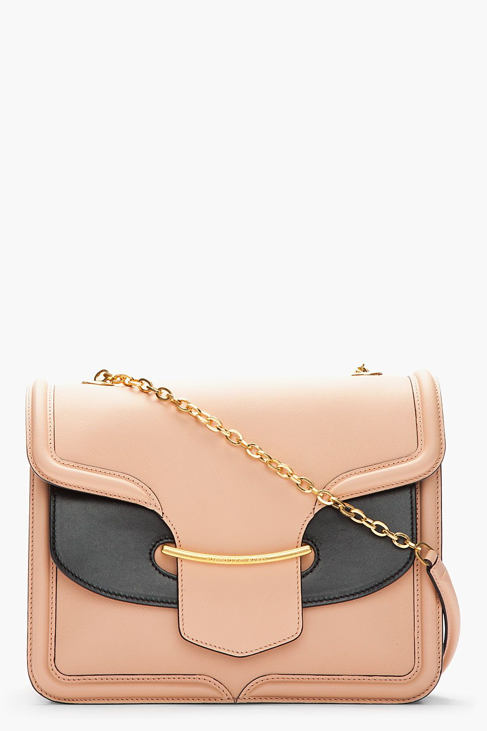 Alexander Mcqueen Blush And Black Leather Heroine Chain_strap Bag  $2,734.45
