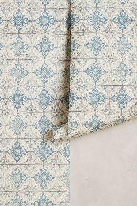 Loving This Kaleidoscopic Crest Wallpaper From Anthropologie Looks Like A Spanish Tile Svensk Inredning Vaggfarg Inredning