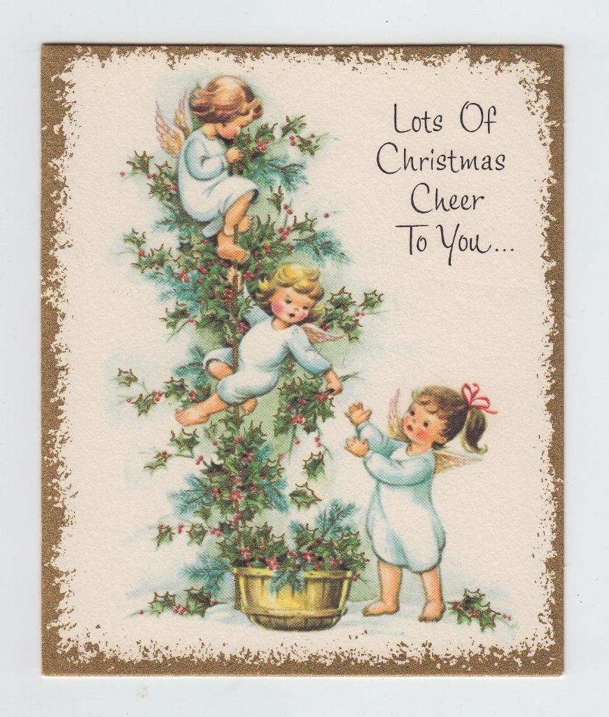 Vintage Angels Making A Holly Garland Christmas Greeting Card | eBay