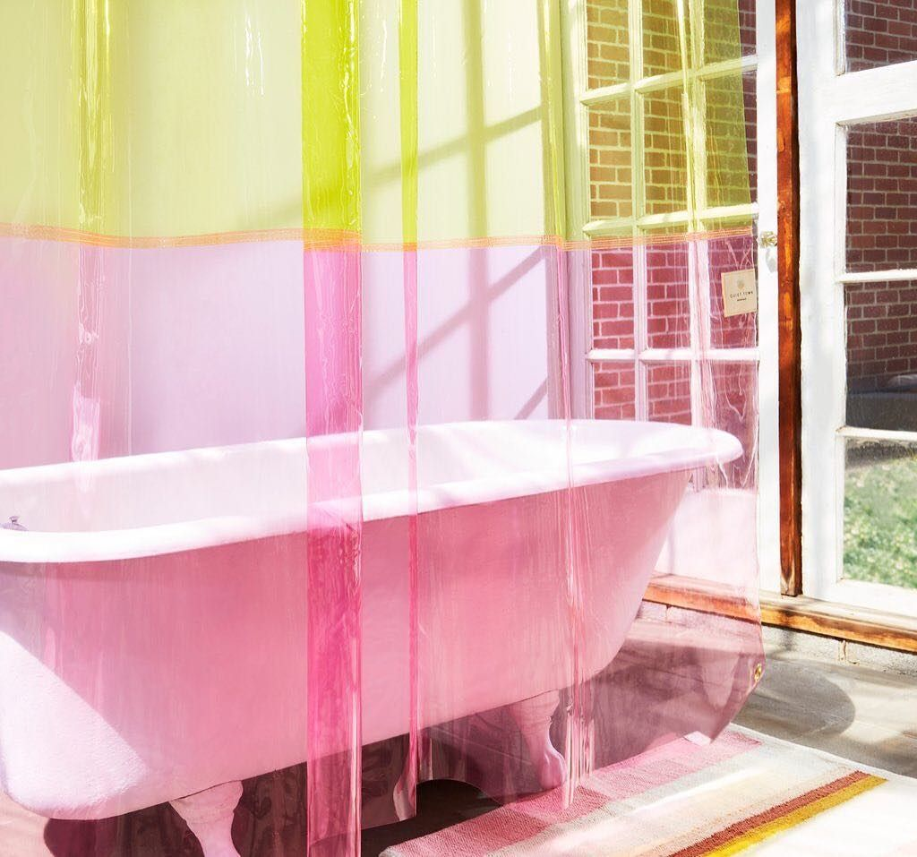 Neon Vinyl Shower Curtain Of Our Dreams Check Our More Of Quiettownhome S New Collection Pl Vinyl Shower Curtains Pink Shower Curtains Small Bathroom Decor