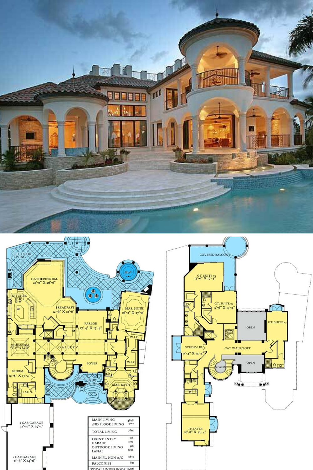 Two Story Mediterranean Style Mansion With Rotunda 5 Bed Floor Plan House Plans Mansion Mediterranean House Plans Luxury House Plans