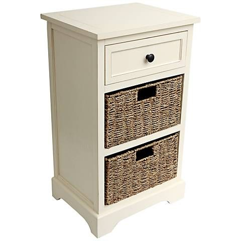 Ella Antique White 1 Drawer Accent Table With Baskets