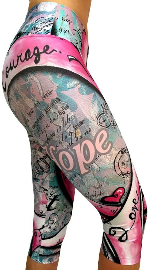 Fun Printed Pilates Capri Breast Cancer Awareness Clothing ...
