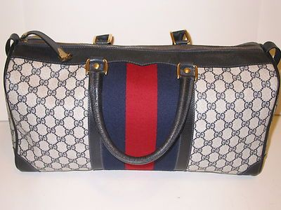 Auth vintage gucci duffle carry on bag w key 4 lock & huge