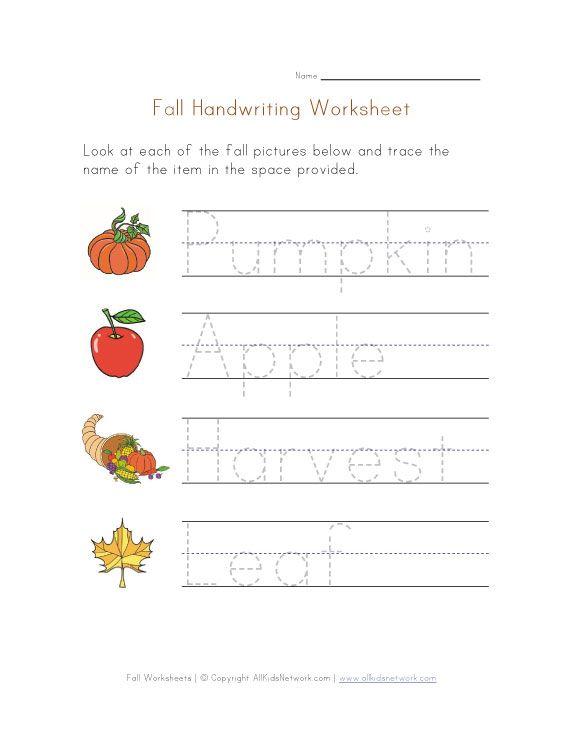 Handwriting Fall Worksheet Recipes To Cook Pinterest