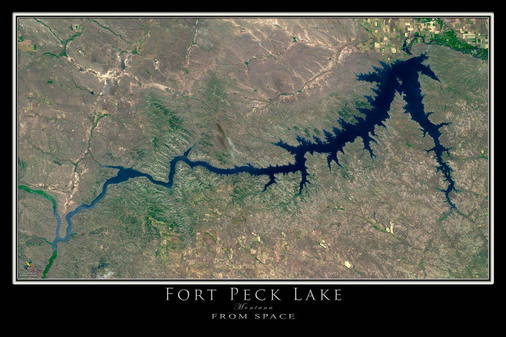 fort peck lake map The Fort Peck Lake Montana Satellite Poster Map Satellite Art fort peck lake map