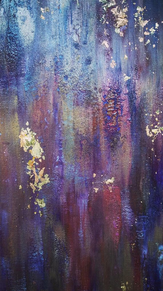 Gold Leaf Abstract Painting 30 X 40 Purple Canvas Wall Art By Abstract Painting Painting Art