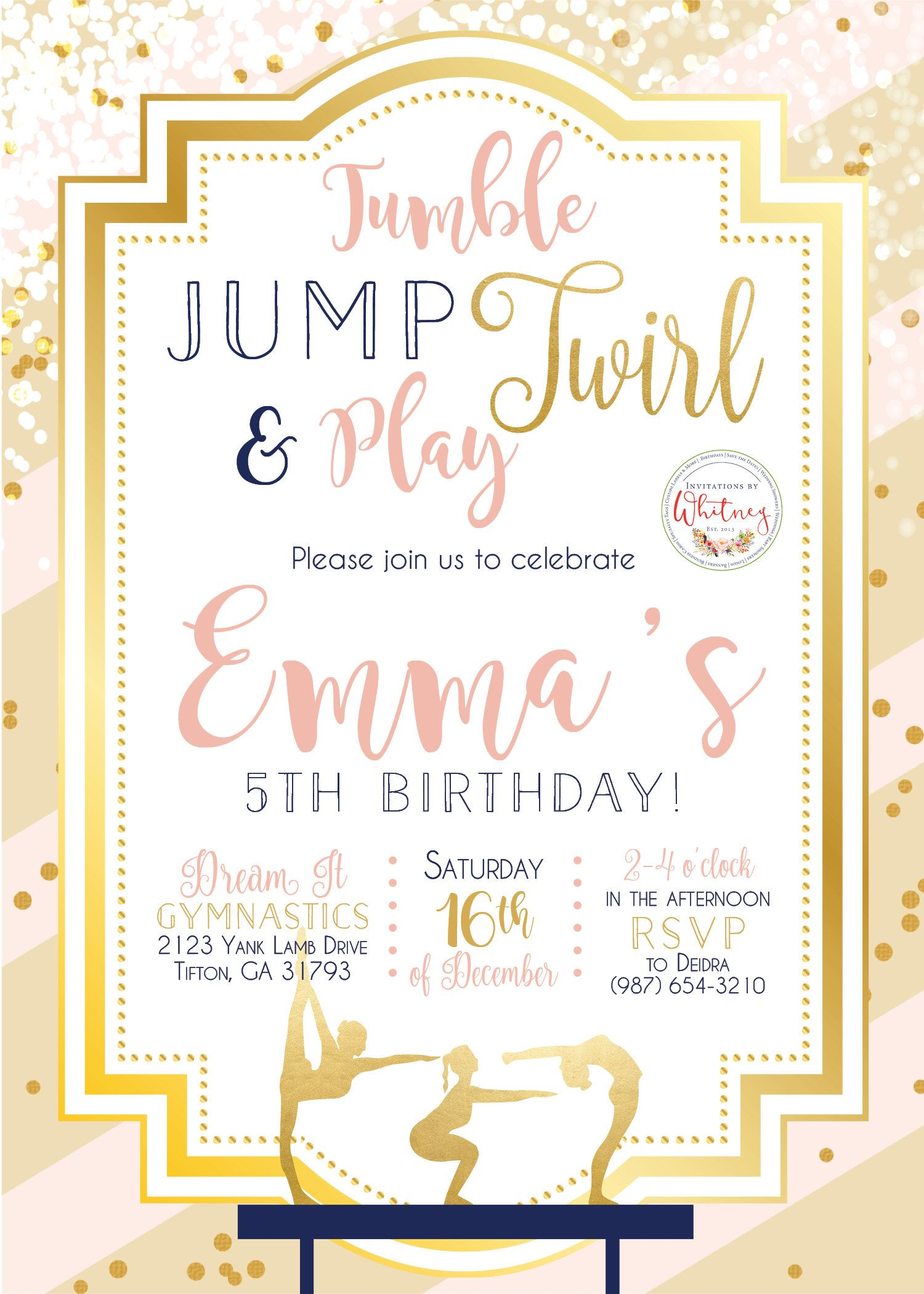 Gymnastics Invitation, Gymnast Invitation, Birthday Party Invitation ...