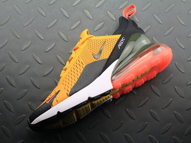 best service aebf5 b1ffc Nike Air Max 270 Flyknit Golden Black White Orange Men Running Shoes