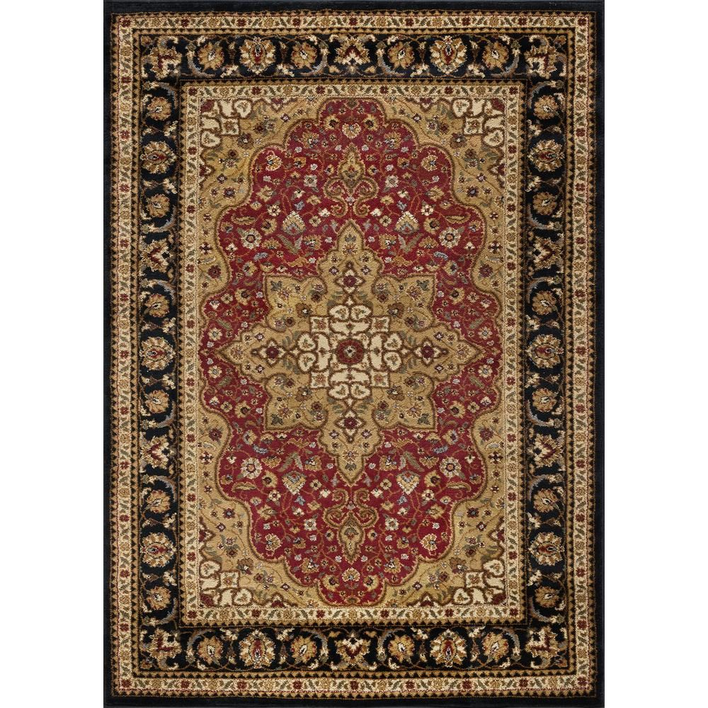 Tayse Rugs Elegance Red 9 Ft X 13 Ft Traditional Area Rug Elg5500 9x13 The Home Depot Traditional Area Rugs Area Rugs Black Rug