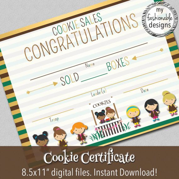 Cookie Sales Certificate Instant Download by MyFashionableDesigns