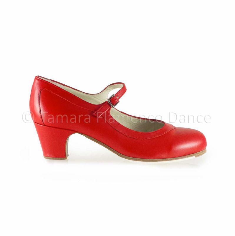 Zapato profesional de flamenco Begoña Cervera modelo Salon piel roja https://www.tamaraflamenco.com/es/zapatos-de-flamenco-profesionales-4