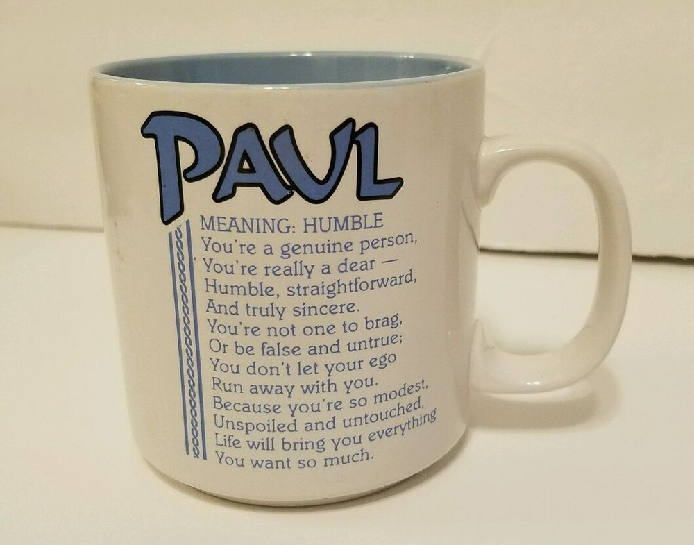 Paul Coffee Mug Papel Name Meaning Humble 10 Oz White Blue Papel Paul Coffee Mugs Names With Meaning