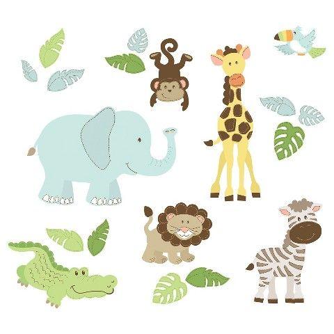wallpops safari buddies wall art kit green blue nursery