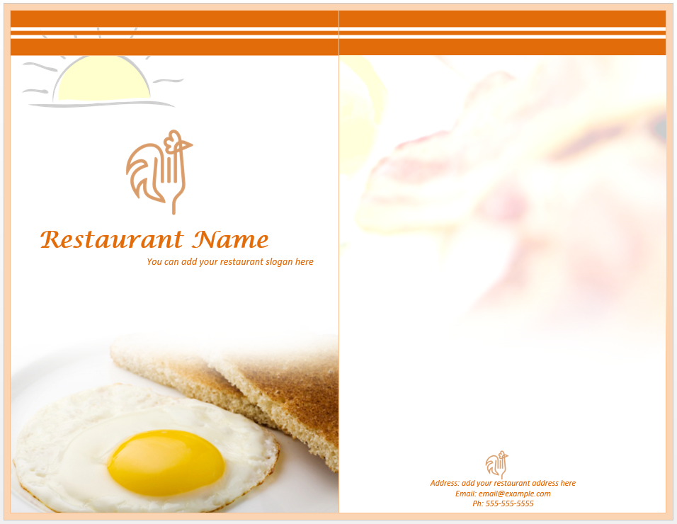 Beautiful Template Inside Breakfast Menu Template