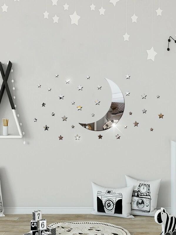 Moon Star Mirror Sticker Shein Decoración De La Pared Ideas De Decoración Del Comedor Mirror Moon Shein In 2020 Wall Decor Bedroom Mirror Stickers Room Decor