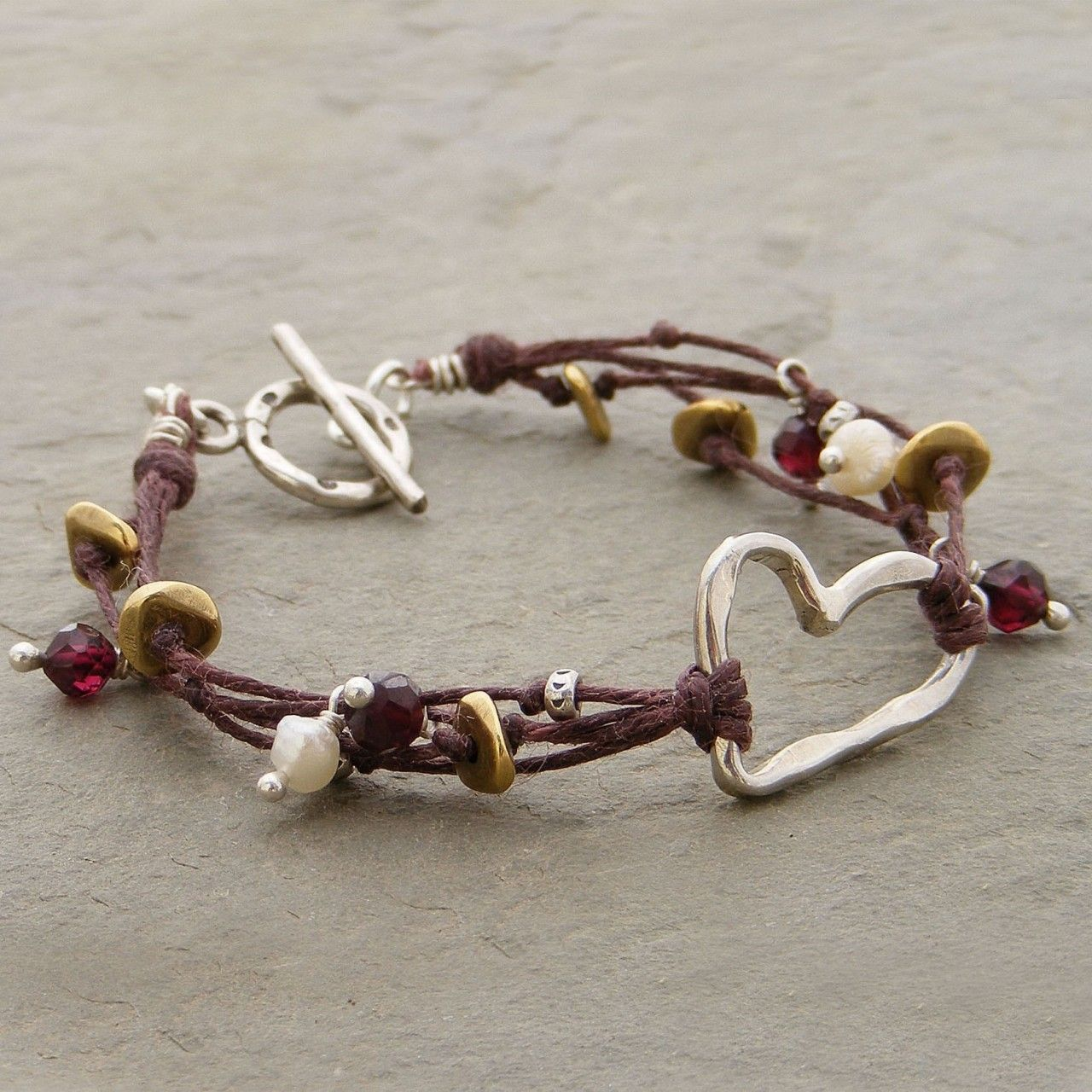 Multi-strands waxed linen with knotted beads #handmade #jewelry #bracelet #DIY