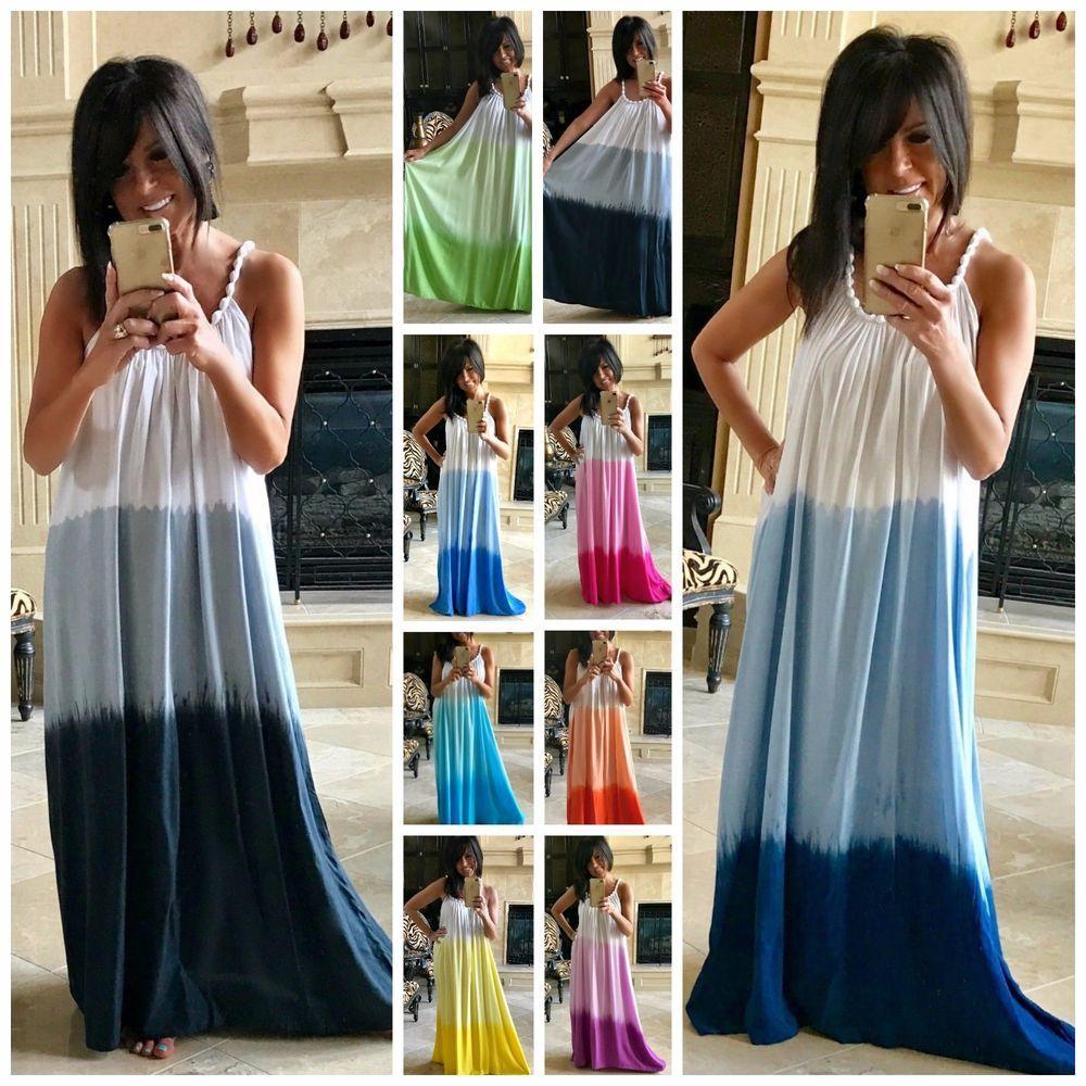 BEACH GYPSY PLUS Boho Ombre Tie Dye Flowy Maxi Dress or Cover Up 9 ...