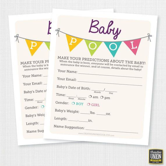Baby shower betting pool template - Free! http://www.worddraw.com ...