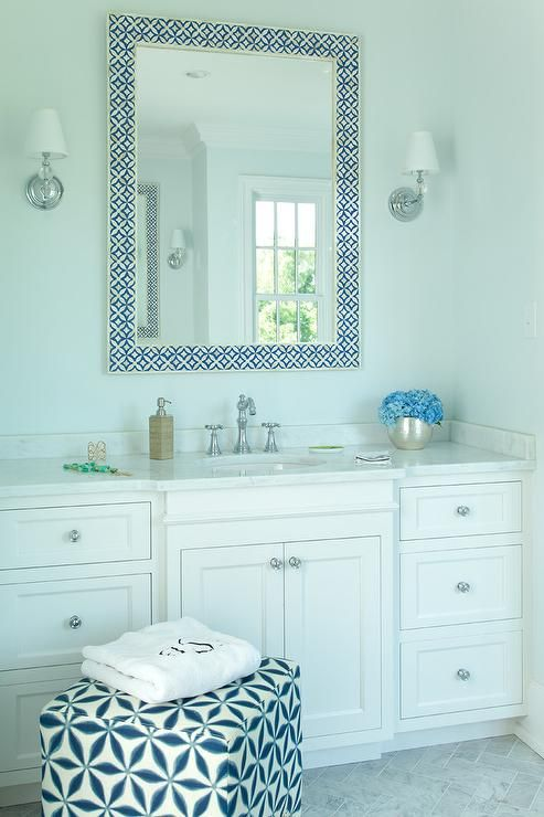 White And Blue Bathroom Features A Bone Inlay Mirror Placed Over Extra Wide Single Washstand Topped With Marble Ed An Oval Sink